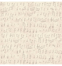 seamless old paper texture with music notes vector image vector image