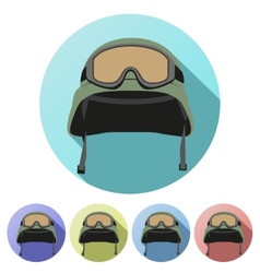 Set Flat icons of green military helmet with vector image