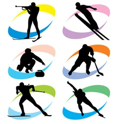 set winter sport icons vector image