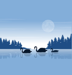 Silhouette of swan on lake with tree landscape vector