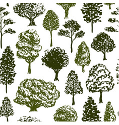 trees pattern sketch seamless tree pattern for vector image vector image