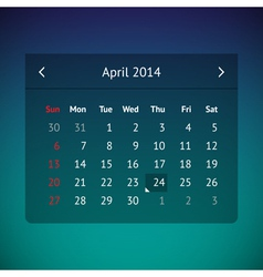 Calendar page for April 2014 vector image vector image