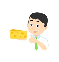Happy Man with Cheese vector image vector image