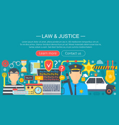 law and justice design concept with policeman and vector image vector image