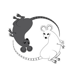 Yin Yang sign icon White and black cute funny rat vector image