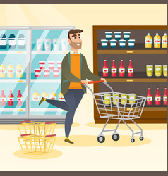 Caucasian man running with a trolley in the store vector