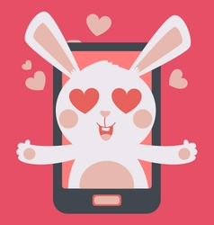 Cute Bunny Crazy in Love Inside Phone vector image