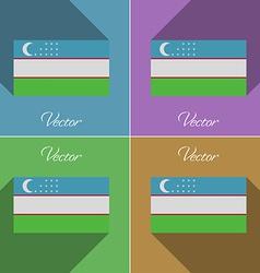 Flags Uzbekistan Set of colors flat design and vector image vector image