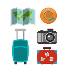 set of icons equipment travel vacations vector image