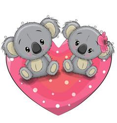 two cute koalas on a heart vector image vector image