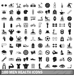 100 men health icons set simple style vector