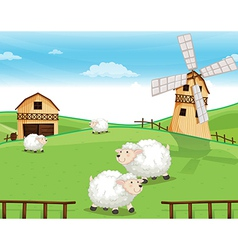 A farm at the hills with sheeps vector