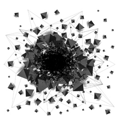 Abstract black shaded pyramids explosion with hole vector image