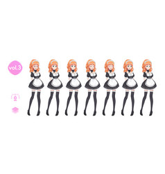 Anime manga girl costume maid cafe vector