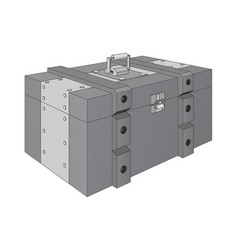 Army ammunition box gray military box vector