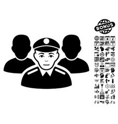 Army Team Flat Icon With Bonus vector