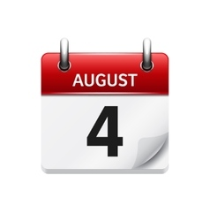 August 4 flat daily calendar icon Date vector