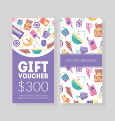 bagoods gift voucher template kids store vector image