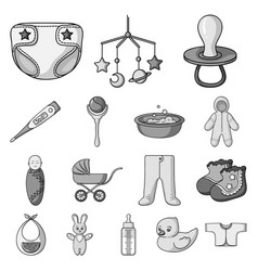 birth of a baby monochrome icons in set collection vector image