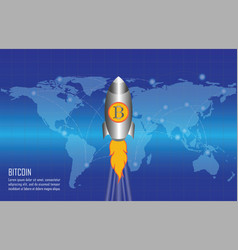 bitcoin growth conceptual with bitcoin logo vector image