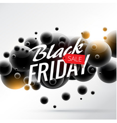 black friday sale background with abstract 3d vector image