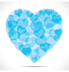 Blue small heart make big heart vector