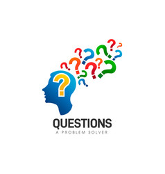 Brain head questions problem solver logo vector