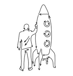 businessman holding big rocket made from arrows vector image