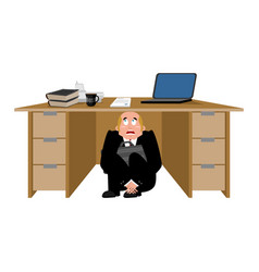 Businessman scared under table frightened vector