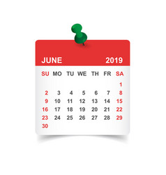 Calendar june 2019 year in paper sticker with pin vector