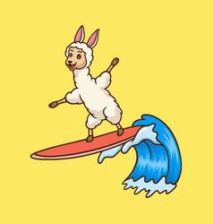 Cartoon animal design llama surfing cute mascot vector