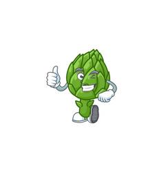 Cartoon character artichoke making thumbs up vector