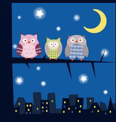 cartoon owl sitting on the branch cartoon owl vector image