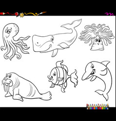 cartoon sea animal characters coloring book page vector image