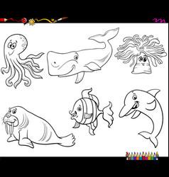 Cartoon sea animal characters coloring book page vector