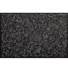 Chalkboard hand drawn Doodle cartoon set of vector