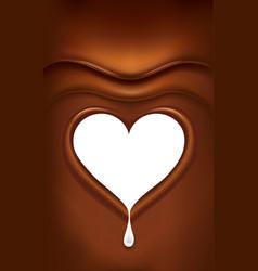 Chocolate background with milk splash heart vector