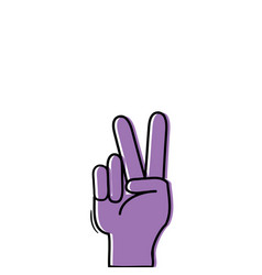 Color hand with peace and love gesture symbol vector