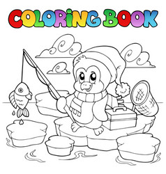 coloring book fishing penguin vector image