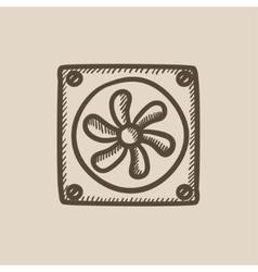 Computer cooler sketch icon vector