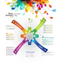 Creative color rich CV resume template with paper vector