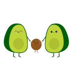 cute cartoon kawaii avocado happpy family mother vector image