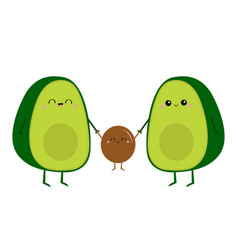 Cute cartoon kawaii avocado happy family mother vector