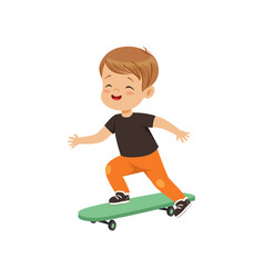 Cute little boy riding skateboard kids physical vector