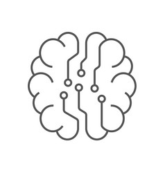 digital brain icon ai concept iot hi-tech line vector image