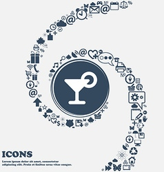Drink cocktail with a lemon icon sign in the vector image