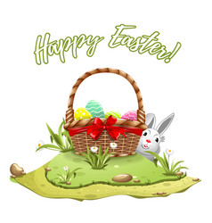 easter eggs in wooden basket on green hill vector image