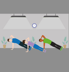 fit friends doing exercise vector image