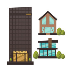 flat set of modern urban architecture vector image