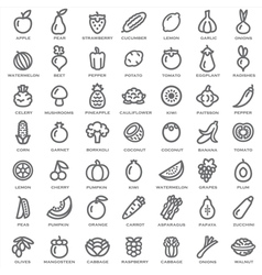 Fruits Vegetables outline vector image